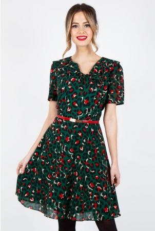 Melissa Belted Leopard Print Dress