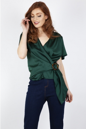 Nina Satin Wrap Blouse