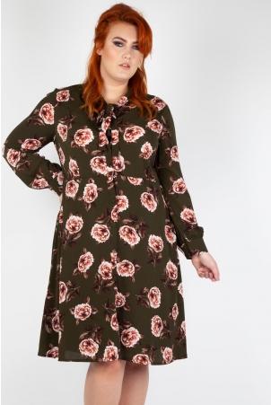 Nora Floral 40's Style Plus Size Tea Dress
