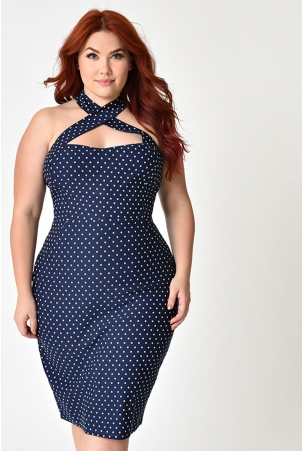Penelope Polka Dot Curve Wiggle Dress by Unique Vintage