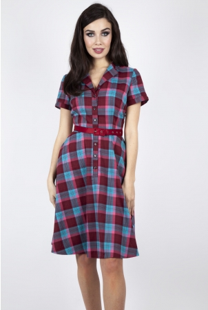 Piper Plaid Belted Flare Dress