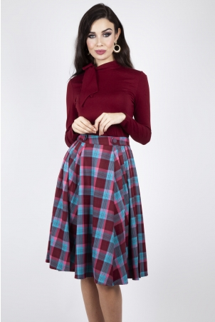 Piper Plaid Pleated Flare Skirt