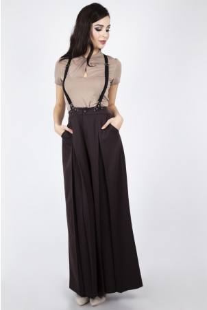 Rebecca 40s Wide Leg Suspender Trouser in Coffee