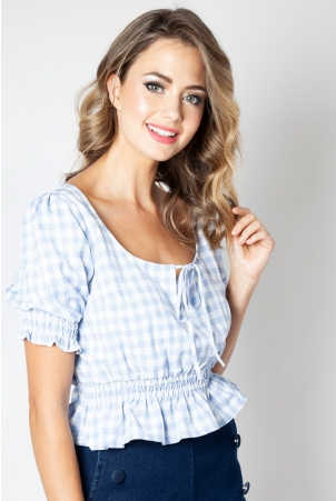 Sadie Blue Gingham Top