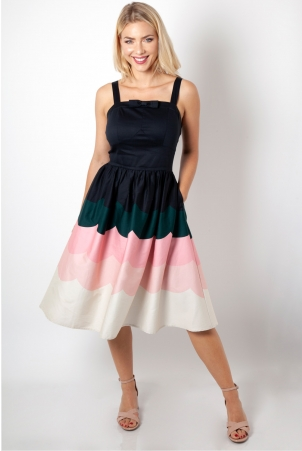 Sally Scallop Border Print Dress