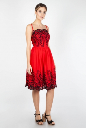 Scarlett Red Embroidered Dress