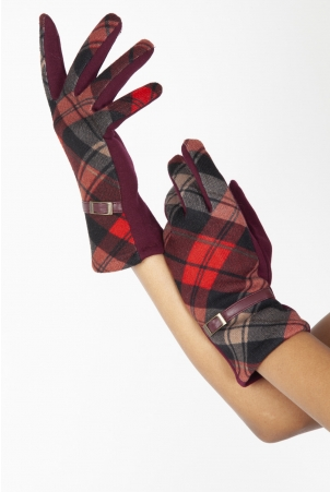 Mabel Red 40s Belted Gloves