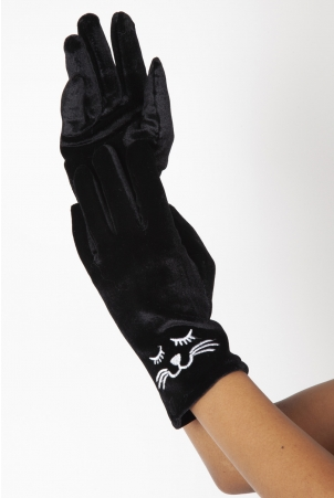 Kitty Black Velvet Gloves
