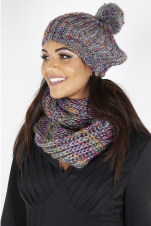 Speckled Grey Beret and Scarf Set
