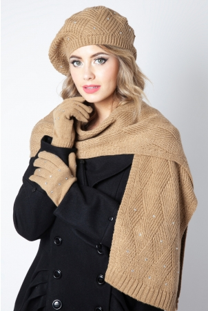 Sparkle Brown Beret, Scarf & Glove Set