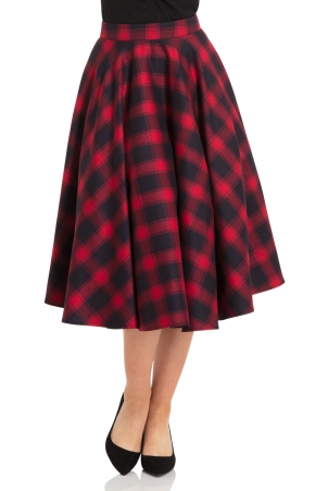May Red Full Circle Skirt