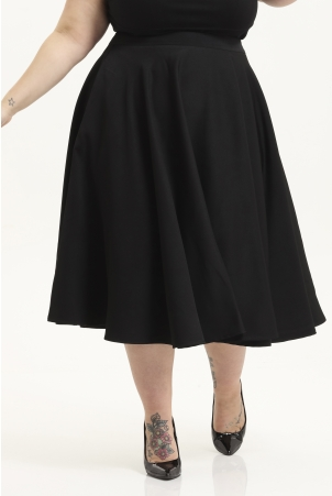 Sandy Black Full Circle Plus Size Skirt