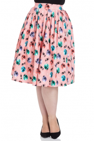 Kathy Retro Cat Print Swing Skirt