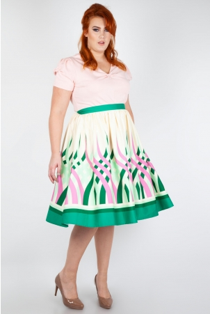 Mia Colour Wheel Border Print Flare Skirt
