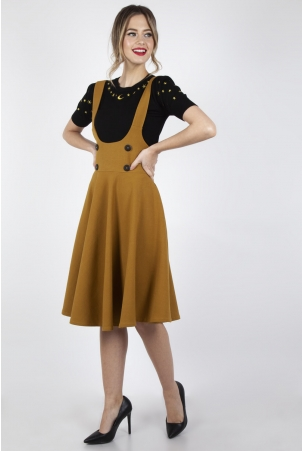 Phoebe High Waisted Overall Skirt in Mustard