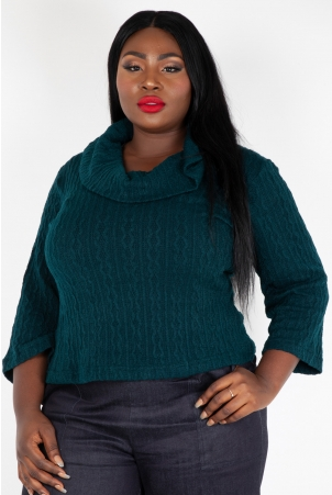 Elena Knitted Scoop Neck Plus Size Sweater