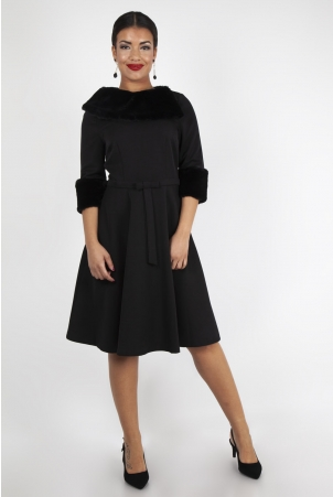Tabitha Black Faux Fur Collar Dress
