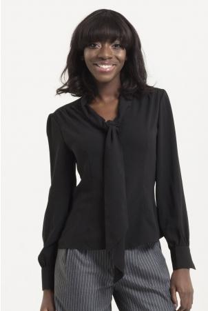 Madeline 40s Black Blouse