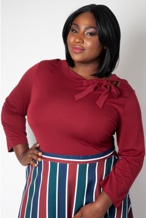 Melanie Burgundy Tie Neck Plus Size Top