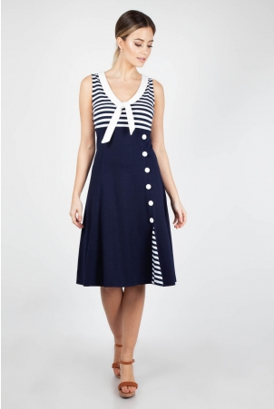 Vera Nautical Flared Sailor Dress