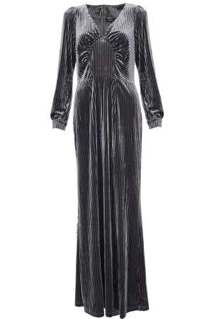Edith Velvet Jewel Grey Gown