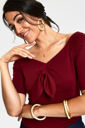 Anika Burgandy Tie Front Pullover Curve Top