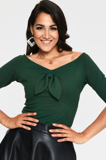 Anika Green Tie Front Pullover Curve Top