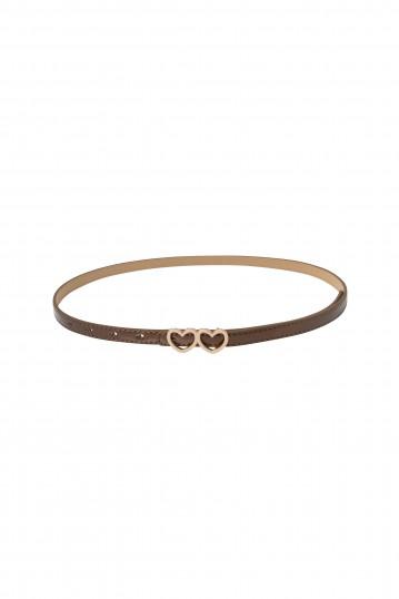 Bronze Patent Heart Buckle Belt