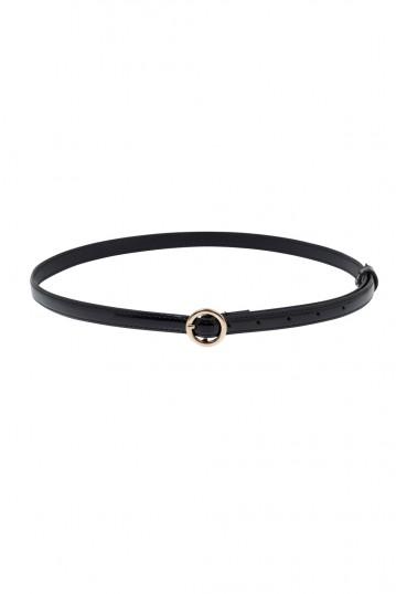 Slim Patent Belt With Round Buckle Black