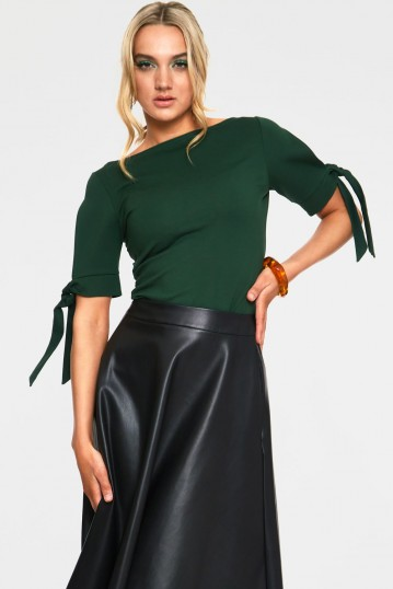 Benny Green Cowl Neck Top with Tie Sleeves