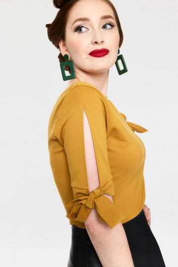 Benny Mustard Cowl Neck Curve Top with Tie Sleeves
