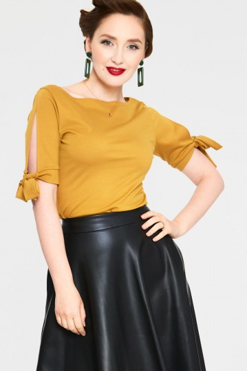 Benny Mustard Cowl Neck Top with Tie Sleeves
