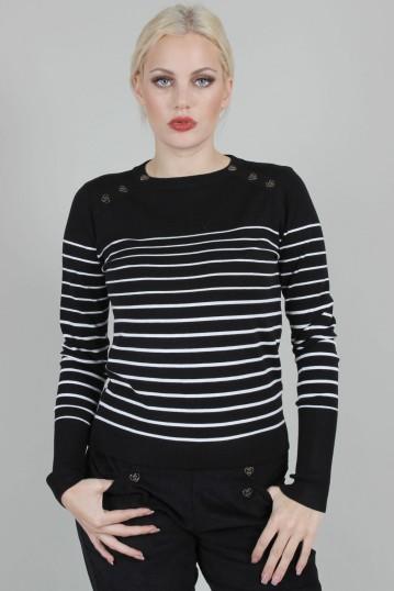 Bethsy Black Sea Striped Crew Neck Sweater