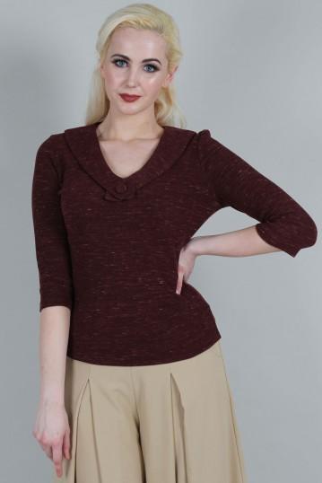 Bobbi Burgundy Linen Look V-Neck Top