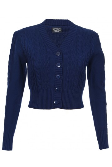 Mabel Cropped Cardigan in Navy