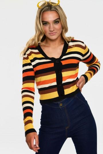 Sweet Candy Corn Stripe Crop Cardigan