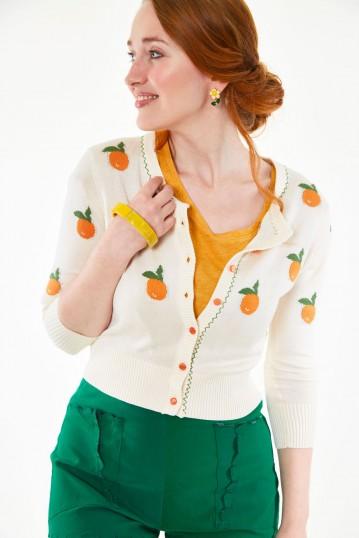 Citrus orange embroidered cropped cardigan