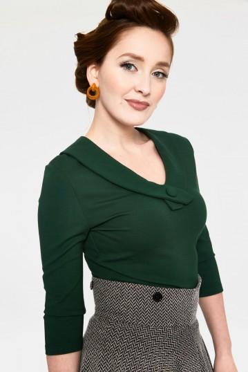 Caniya Retro Green V-neck Curve Top