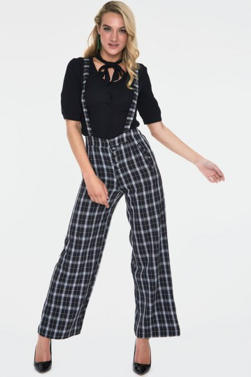Cassie Checked Wide Leg Trousers With Braces
