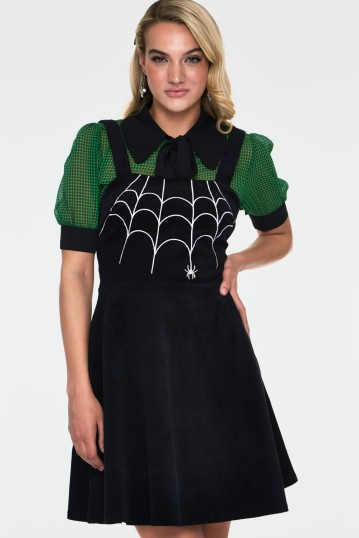 Charlotte Spider Web Embroidery Overall Corduroy Dress