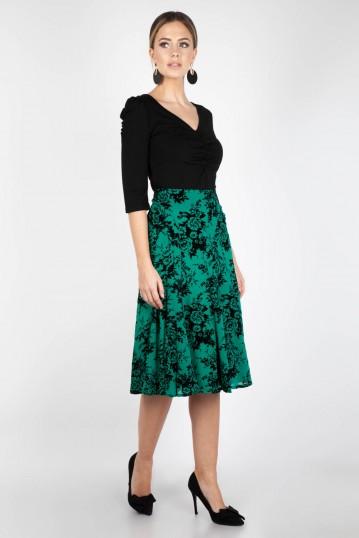 Chloe Black & Green Rose Skirt