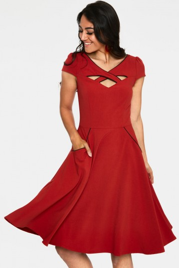Connie 1950s Red Swing Dress