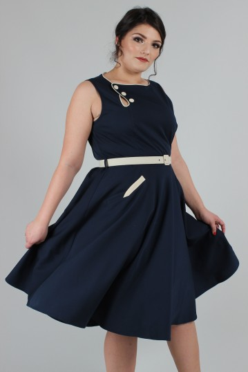 Curve Nyla Navy Blue Nautical Sailor Dress