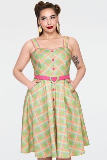 Curve  Vita Rainbow green tartan summer dress