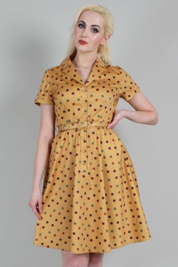 Diana Polka Dot Collered Flared Dress