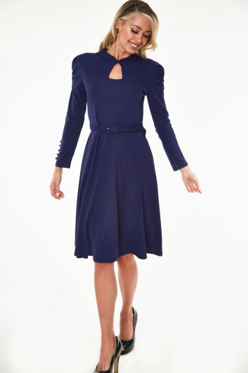 Dita 50s Flared Navy Dress with Cut-out