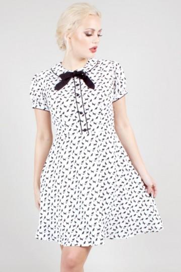 Caddie Cat Print Flared Dress