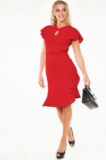 Curve Nessy Red Flutter Sleeve Belted Bodycon Dress