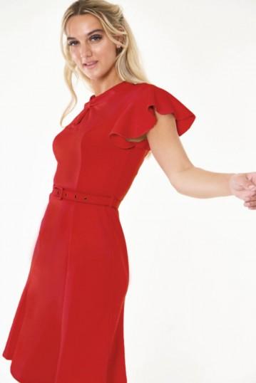 Nessy Red Front twist flutter sleeve dress