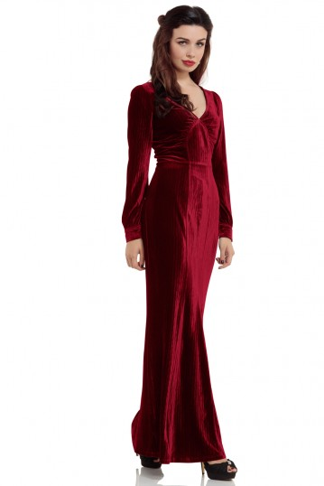 Olive 30s Red Evening Gown